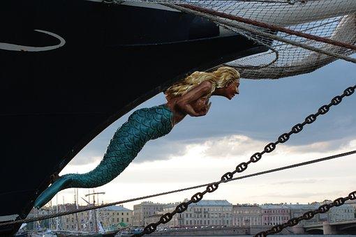 Mermaid, On The Bow, Evening, Gloomy Sky, Grey Sky