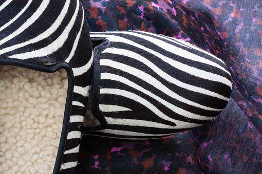 Shoes, Slipper, Zebra Pattern, Fur, Lambskin, Leather