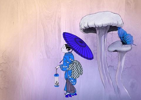 Asia, Geisha, Japan, Mushroom, Butterfly, Japanese