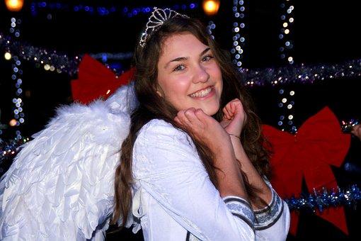Girl, Princess, Lights, Decorations, Tinsel, Night