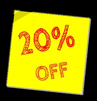 Twenty Percent Off, Discount, Sale, Offer, Marketing