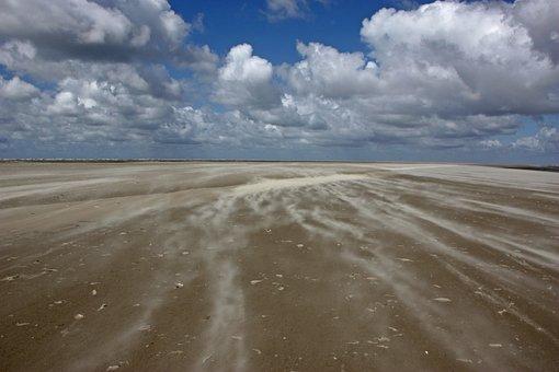 North Sea, Sandstorm, Beach, Sand, Sankt-peter Obi
