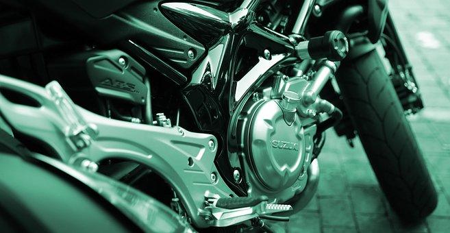 Motorcycle, Motor, Silver, Cylinder, Suzuki, Shiny