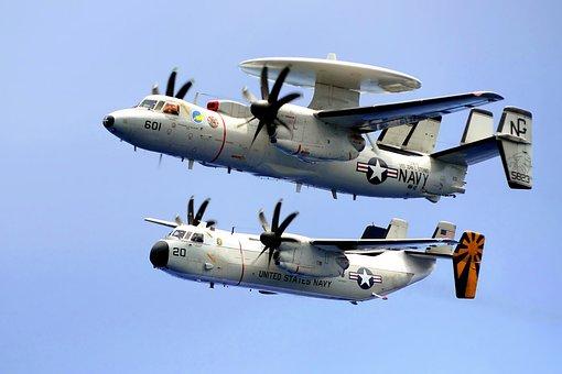 Planes, Military, Navy, Sky, Clouds, C-2c Hawkeye