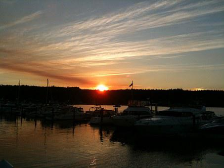 Sunset, Washington, Bay, Boats, Sky, Seattle, Northwest