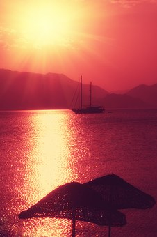 Yacht, Sun, Red, Summer, Tourism, Journey, Vacation