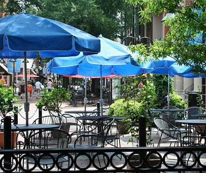 Sidewalk Cafe, Sidewalk Restaurant, Tables, Chairs