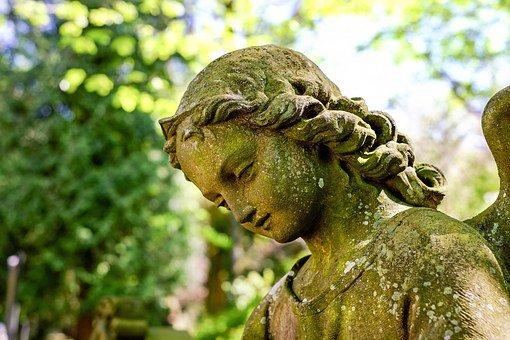Angel, Face, Stone, Sculpture, Tombstone, Close