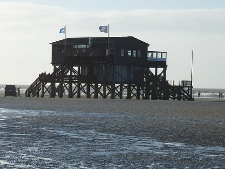 St Peter Obi, Watts, Wadden Sea, North Sea, Building