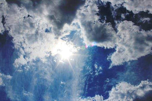 Sky, Sun, Summer, Clouds, Rays, White