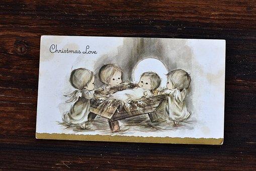 Map, Christmas Card, Old, Used, Child, Christmas, Wood