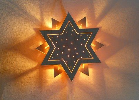 Star, Shadow, Light, Illuminated, Wood Star, Mood