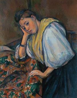 Woman At A Table, Young, Italian, Art, Artwork