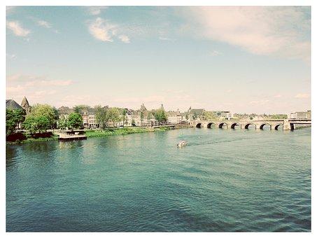 Maastricht, Holland, Netherlands, Bridge, Water, River