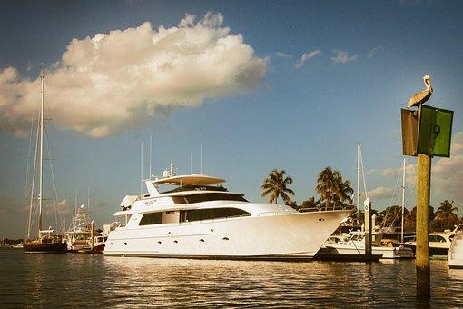 Megayacht, Pelican, Marina, Cloud, Puffy, Sailboats