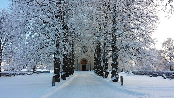 Avenue, Church Door, Winter, Delsbo, Road, Snow, Tree