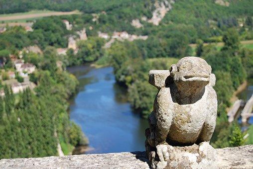 Lot, Valley, Gargoyle, Sculpture, River, Statue