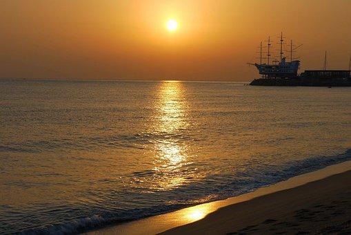 Sea, Solar, Sunrise, Japan Sea, Sand, Bathing Beach
