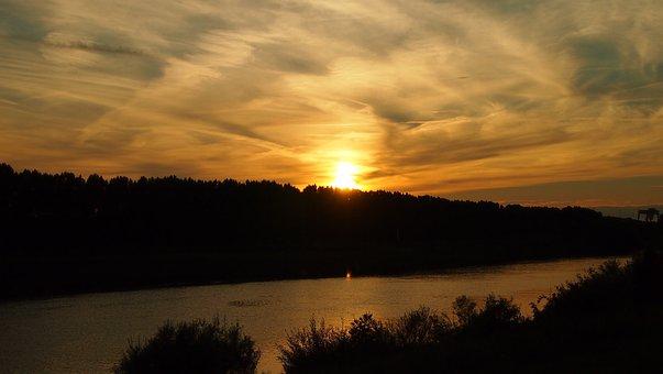 Maas, Sunset, Venlo, Sky