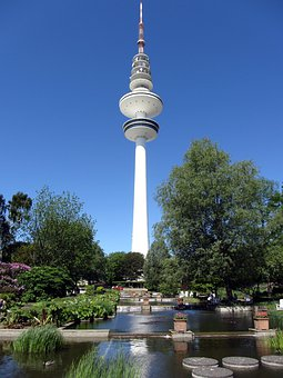 Hamburg, Tv Tower, Planned Un Blomen, Botanical Garden
