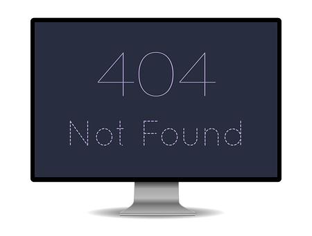 Monitor, 404, Error, Problem, Page, Found, Web