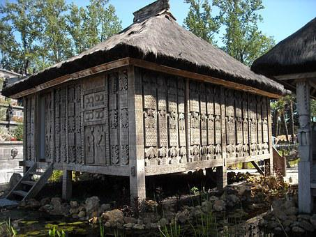 Wooden Structure, Pile Dwelling, Wood, Woodcarving