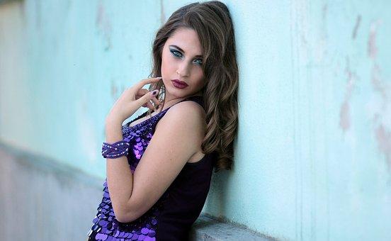 Girl, Wall, Dress, Mov, Blonde, Blue Eyes, Beauty