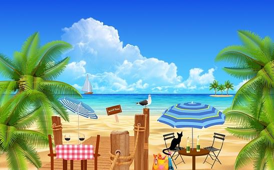 Beach, Coffee, Tables, Restaurant, Restaurant Table