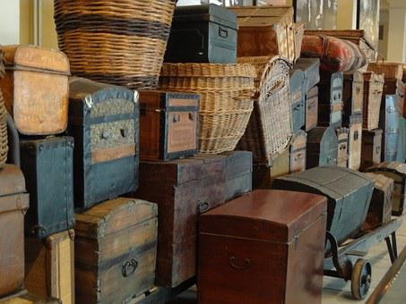 Vintage Luggage, Ellis Island, New York, Travel, Wooden