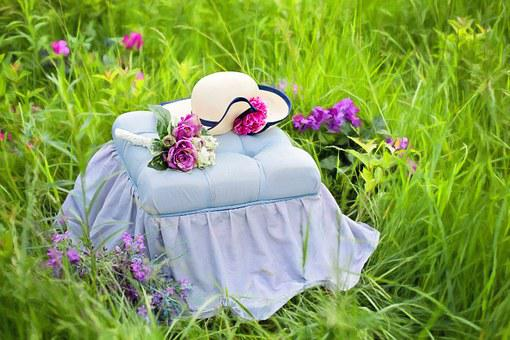 Garden, Summer, Pretty, Hat On A Bench, Flowers, Meadow