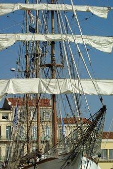 France, Sète, Sailboat, Port, Sails, Mats