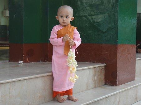 Child, Myanmar, Burma, Monk, Sweet, Diffident, Girl