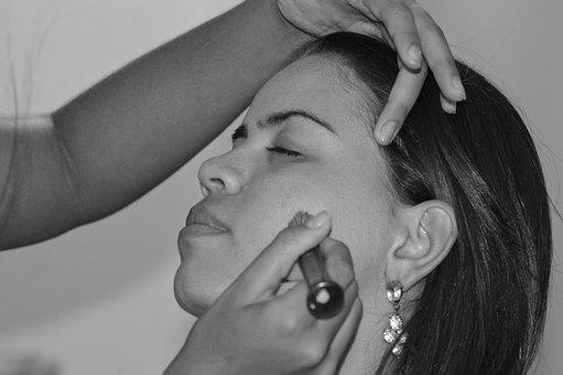 Woman Applying Make Up, Makeup, Compact, Shadows