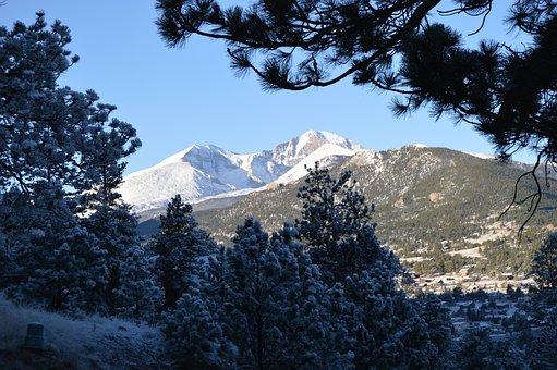 Longs Peak, Snow, Colorado, Estes Park, Mountain