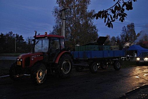 Morning, Dawn, Harvesting, Tractor, Car, Vats