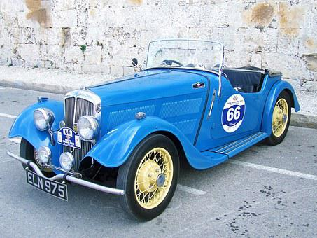 Vintage Car, Classic Car, Blue Vintage Car, Old Car