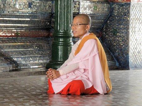 Woman, Monastery, Buddhism, Myanmar, Pink, Nun, Serene