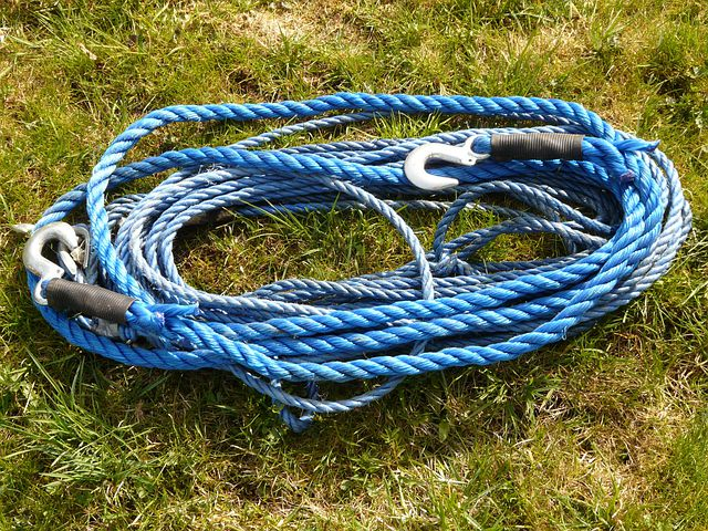 Rope, Cable, Hook, Blue, Tow Rope