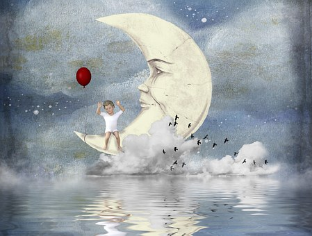Child, Moon, Clouds, Sky, Balloon, Dream, Water