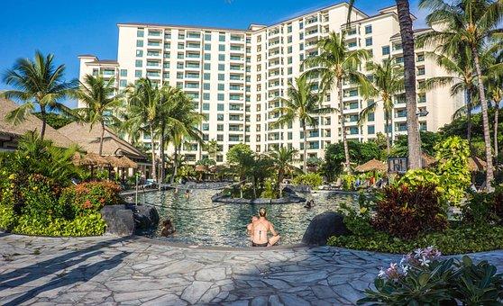 Hawaii, Oahu, Ko Olina, Resort, Pool, Palm Trees