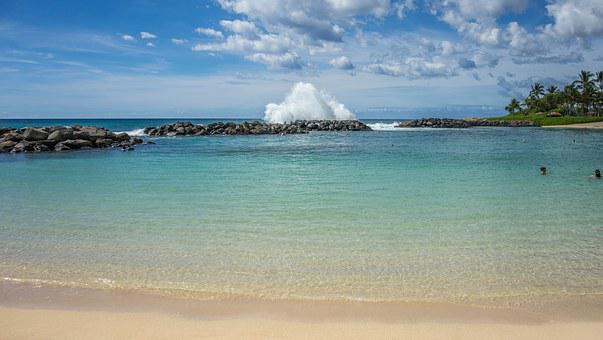 Lagoon, Ko Olina, Oahu, Hawaii, Waves, Rocks, Beach