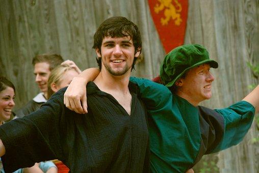 Pals, Renaissance Fair, Happy, Costume, Medieval, Men