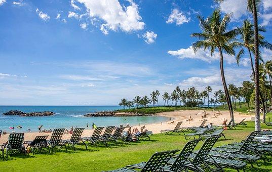 Lagoon, Ko Olina, Hawaii, Oahu, Ocean, Clouds, Coast
