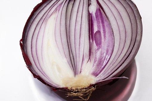 Onion, Allium Cepa, Red Onion, Sliced, Half