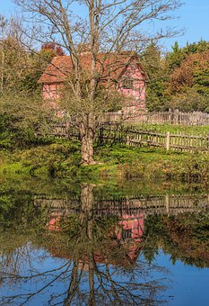 Tudor Style House, Museum, Pond, Reflection, Autumn