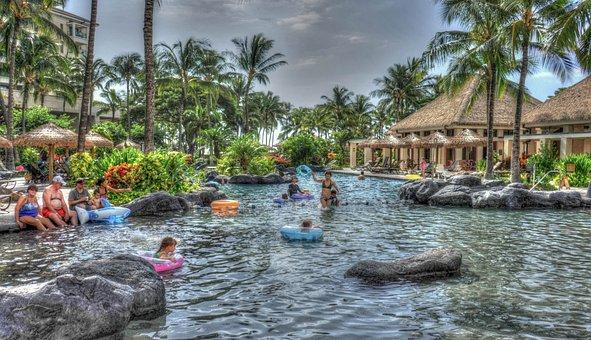 Hawaii, Oahu, Ko Olina, Marriott, Resort, Pool, People