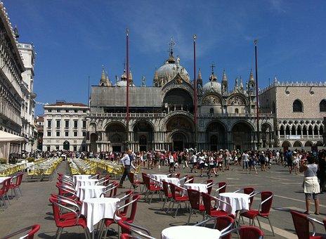 San Marco, Venice, People, Italy, Crowd, Terrace