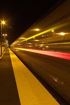 Train, Ter, Wharf, Speed, Station, Night, Lighting