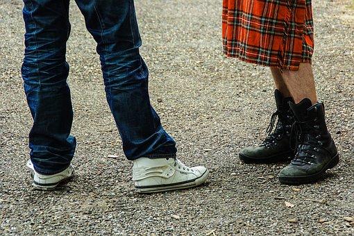 Kilt, Legs, Hairy, Men, Sports Shoes, Lace-up Boots