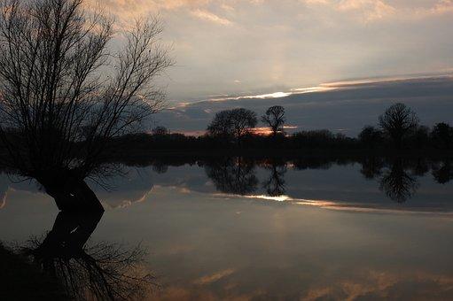 Evening, Sunset, Landscape, Silent, High Water, Flood